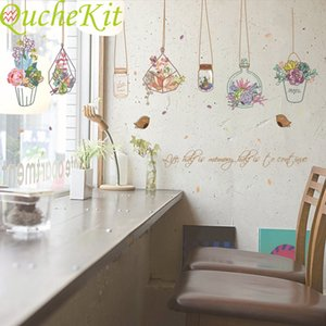 "Pot wall adhesive plant butterfly bird""; PVC wall adhesive, female painting paper, kitchen, living room window, decoration house"