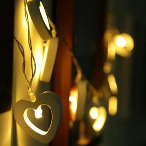 Aşk Ahşap Kalp Aküsü Powered Dize Masal Veranda Işıkları Noel Bahçe Düğün Parti Aksesuarları LED Dize Işıkları