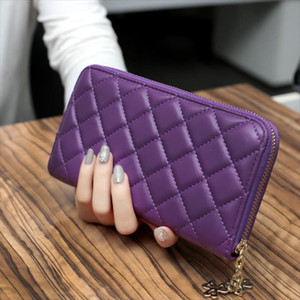 2021 womens wallet carteira feminina Long Leather rhomboids quilted zip portwel famski pikowane carteira feminina Female Purse
