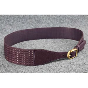 Sarah Pacini women's classic soft leather long skirt waist belt pure copper buckle