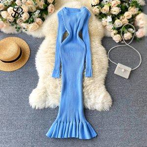 SINGRAIN Женщины Трикотажные Fishtail платье Корейский простой моды Bodycon свитер платье Осень WInter Тонкий эластичный Пуловеры платье C1009