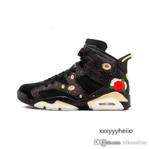 Mens Jumpman 6 VI basketball shoes 6s CNY China Luar Year Firework Floral Print Oreo Black Gold AJ6 sneakers for sale