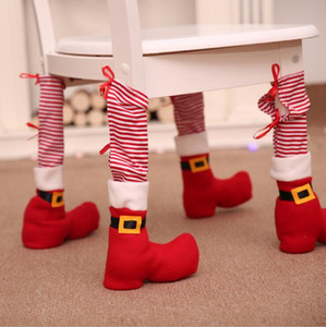 Christmas Chair Foot Cover Red Striped Restaurant Table Foot Cover Houseware Table Chair Protection Covers Textured Xams Decoration OWE2065