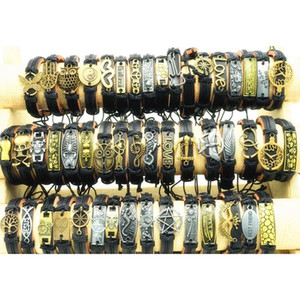 200pcs lot Mix Style Metal Leather Cuff Charm Bracelets For Men's Women's Jewelry Party Gifts Bangle D wmtVsz queen66