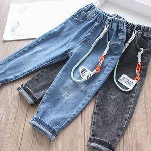 2Color de mezclilla Boys de la manera colgante de cadena de los niños pantalones vaqueros de los pantalones vaqueros de los niños niñas pantalones pantalones de las muchachas de los muchachos pantalones ropa de niños b2152