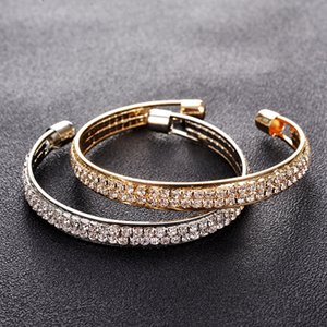 Elegant Crystal Cuff Gold Silver Color Bridal Lady Bracelet Bracelets & Bangles Jewelry Pulseras Mujer