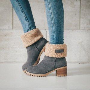 Oro Catalpa - cargadores de las mujeres zapatos de invierno talones Hoof nieve botas zapatos sin cordones LJ201019