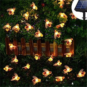 New Solar Powered Cute Honey Bee Led String Fairy Light 20leds 50leds Bee Outdoor Garden Fence Patio Christmas Garland Lights Swy sqcVmB