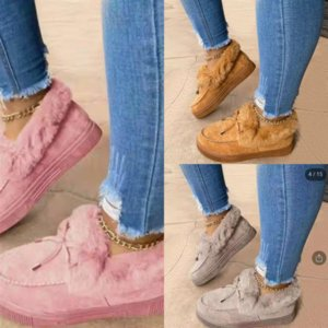 el9E1 Indoor New Cute Couple Plus velvet cotton Slippers Large Yellow Duck Doll snow boots Small mop Warm yarn Floor Carpet Slippers