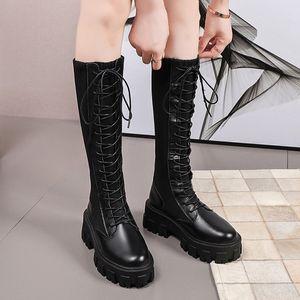 Mode cuir verni noir Plateforme Talons longues bottes femmes épais genou haute bottillons femme avant lacent Botas Femme