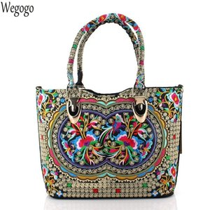 Vintage Women Handbags Ethnic Embroidered Bags National Large Shoulder Bag Lady Big Travel Shopping Beach Totes