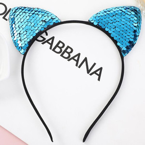 Mermaid Sequins Headbands Hairpin orelha de gato cabeça coroa cabelo hoop arco varas crianças mostra partido aniversário adereços acessórios de cabelo PPF2338
