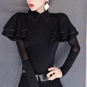 Женские блузки Рубашки Женщины 2021 Весна Осень Мода Сплошной Цвет Рашал Женский Черный Повседневная Длинные Рукавы Топы Дамы Slim V11