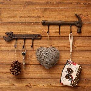 Retro Hammer Wrench Bedroom Door Back Coat Rack Clothes Hanger Hooks Living Room Closet Metal Hat Racks Keys Hanger Wall Hook