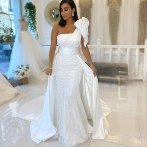 Arabic One Shoulder Mermaid Formal Evening Dresses With Trains 50CM Glitter Sequined Bow Women Long Formal Wear Prom Dress New 2021