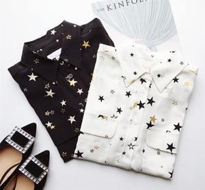 2020 Золотые звезды Длинные Рукава Пижама Стиль Стиль Напечатаны 100% Настоящий шелк с карманами Леди Топ Блуза Женские Блузки Рубашки