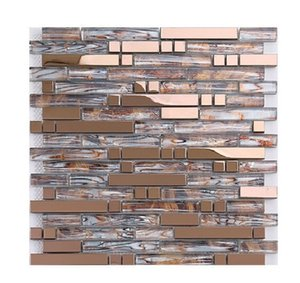 2021 hot sale Long glass mosaic tile European style simple personality background wall KTV Hotel Club toilet tile