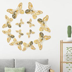 Papillon Sticker mural Laser creux 3D simulation papillon carte de papillon réfrigérateur pâte double face flash TROIS-DIMANDEA autocollant mural Zyy536