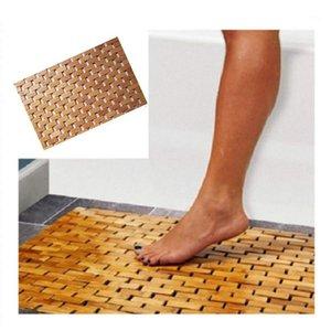 Teak Wood Bath Mat Ноги Душ Пол Натуральный Бамбук Не скользят Большой 50x70CM1