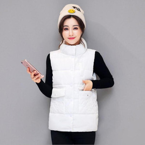 Womens Short Section Autumn Winter Cotton Vest Stand Collar Female Sleeveless Jacket Solid Color Female Waistcoats Jackets K1138