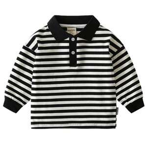 New Polo Shirt Kids Clothes Stripes Boys Shirts Tops Cotton Autumn Long Sleeve Shirt Casual Polos Teen 3T-8T