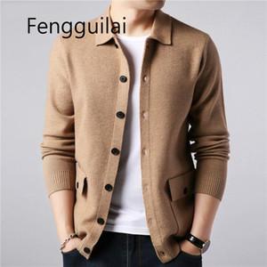 Fengguilai Marka Streetwear Moda Triko Coat Sonbahar Kış Sıcak Pocket ile Kaşmir Yün Hırka Erkekler