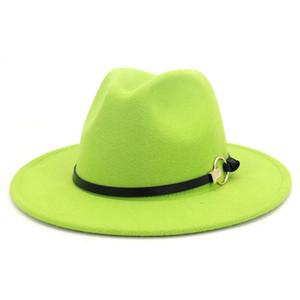 Las mujeres de los hombres del sombrero de Fedora con cuero ocasional de la cinta de los sombreros de ala del sombrero del jazz sombrero al aire libre caballeros elegante Cap ancho del borde de invierno Panamá Cap EWD1277