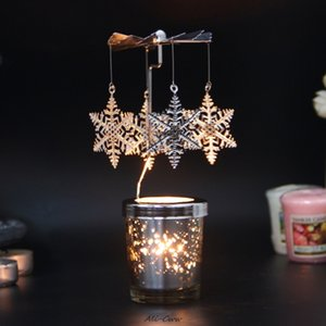 Rotary Spinning Candlestick Tealight Candle Holder Metal Tea Light Holders Carousel Wedding Home Party Decor Gift 10-type