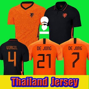 Hollanda Futbol Forması 2020 2021 De Jong Holland Futbol Gömlek 20 21 Strootman Memphis Promes Erkekler + Çocuk Kiti Üniformaları