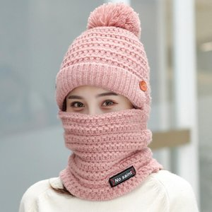 Women Knitted Mask Scarf Hats Solid Color Wool Knitting Bonnets Hats With Fur Ball Ladies Winter Warm Caps Female Beanies