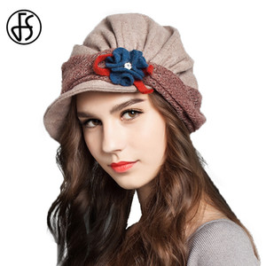 FS Winter Vintage Wool French Beret Hats With Flower For Women Ladies Black Gray Orange Blue Khaki Baret Short Brim Beret Hat 201019
