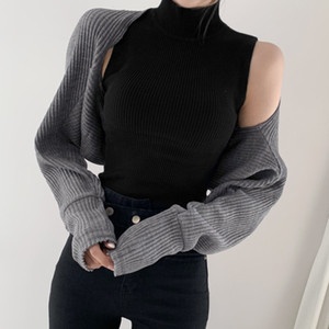 Turtleneck Sleeveless Knitted Tank Top Short Shrug 2pcs Women's Sweaters Autumn Winter 2021 Fashion