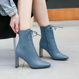 short boots women's spring and autumn European station women's high-heeled single boots square head high-heeled shoes thick heel