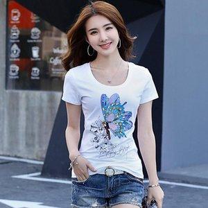 farfalla femminile perline strass paillettes cotone T-shirt femminile dia Paillettes estate 2020 nuova maglietta a maniche corte SUPERA IL T