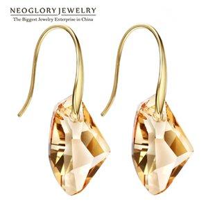 Neoglory Yellow Austrian Crystal Charm Dangle Drop Earrings for Women Bridal Fashion Gift Jewelry 2020 New Fashion Brand JS9