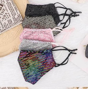 Glitter sequin fashion cross-border spot personality glitter dust mask three layers of cotton belt filter dazzle colorful mask NWF1529