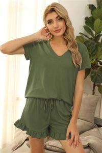 Fashion Short Sleeve Short Pants Drawstring Womens Home 2PCS Sets Casual Females Clothing Womens Designer Tracksuits