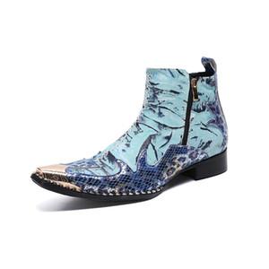 Christia Bella Designer Patchwork Men Ankle Boots Blue Party Genuine Leather Men Dress Boots Fashion Formal Zip Short Boots Shoe 201110