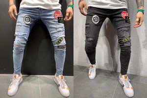 Mens Zipper Holes Jeans Black Ripped Slim Fit Represen Pencil Pants Multi Style Slim-fit men's jeans with small feet