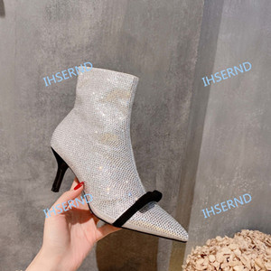 zapatos de tacón alto de las nuevas mujeres atractivas del ante de las botas de cuero bombas de invierno real inferior del tobillo de plata Paris tamaño de las botas 35-39