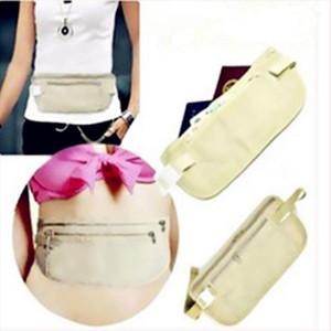 Men Unisex Untra Thin Waist Security Waist Bags Women Travel Zipper Hidden Belt Holder Bag Packs for Passport ID card Money