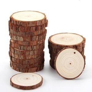Círculos de Navidad Adornos de madera DIY pequeños discos de madera de pino Pintura Ronda Rebanadas w / Hole n Party Supplies jutos FWD2818
