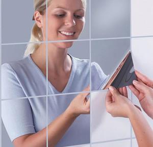 9/16pcs Зеркальные Наклейки Стены Гибкие Зеркальные Листы Стикеры Стены Самоклеточные пластиковые плитки для дома D BBYMMN Ladyshome