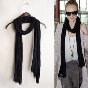 Men in spring and autumn black slender cotton linen scarves, women winter versatile long thin decorative neck scarf solid color