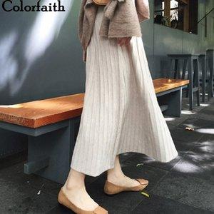 Colorfaith Mujeres Otoño Invierno Punto Midi Faldas Mid-Calf A-Line Empire Estilo Coreano Falda Plisada Elegante SK5728 T200324
