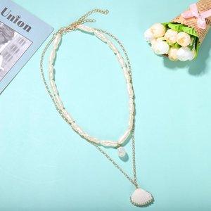 Dvacaman Boho моды ожерелье пресной воды Pearl Shell ожерелье Set Подвеска для женщин Имитация Pearl Новые ювелирные изделия Колье