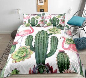 Succulent Bedding Set cactus Plants Duvet Cover Set Queen size Green Floral Printed Flamingo Home Textiles for Woman Bedclothes ODXL#