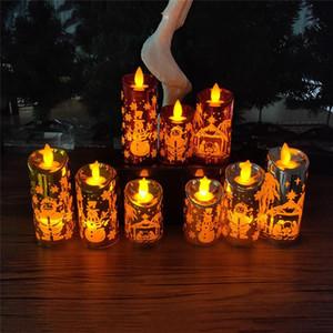 عيد الميلاد محاكاة شمعة الصمام أضواء الرياح محاكاة شمعة s m l santa ثلج مطبوعة سطح الزخرفية شمعة owa1936