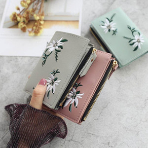 1PC New Emboridery Flower Wallet Women Coin Bag Leather Ladies Simple Bifold Small Handbag Purse Storage Bags