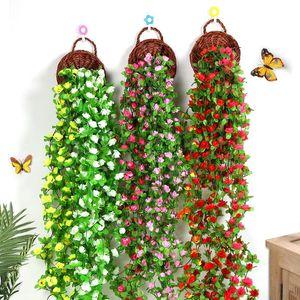 Home Garden Decoration Artificial Dried Flowers String Rose Flower Vine Garland Flower Wall Wedding Party Decorate Fake Flowers